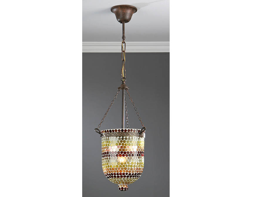 Sorrento Pendant Lamp Small 1L oxide forge + lampshade Glass Green/Brown
