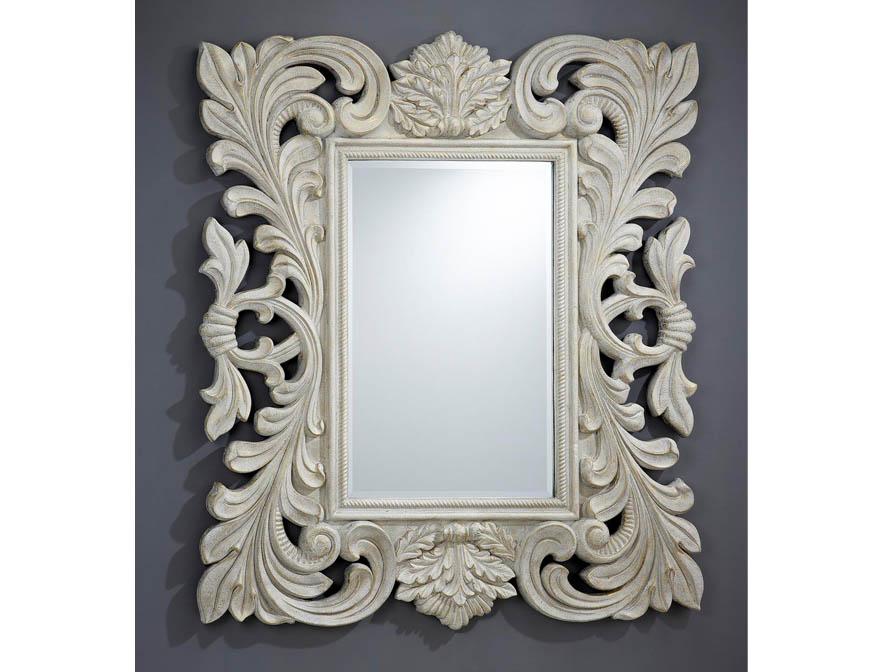 espejo Moldura Calado Patina blanca /Oro Brocheado