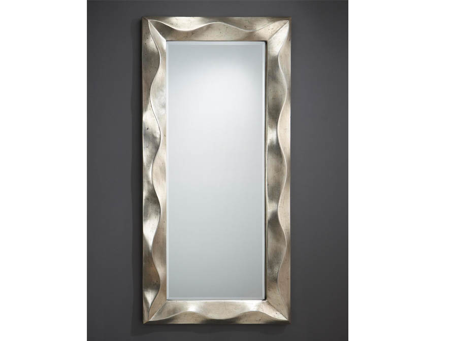 Alboran espejo rectangular marco Volumetrico Pan de Plata Envejecida