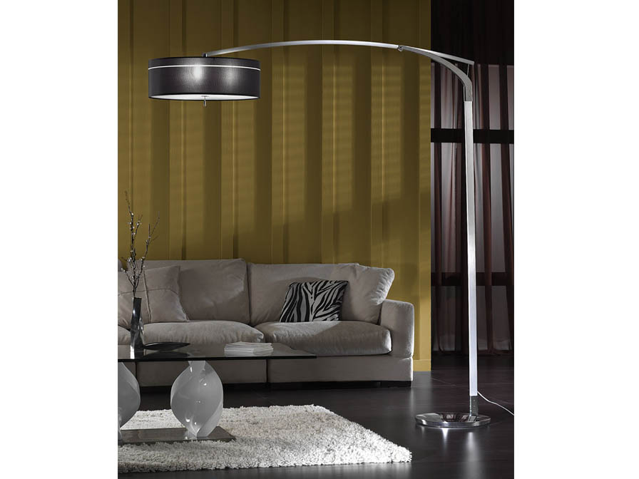 Ibis lámpara of Floor Lamp E27 LED 3x10W Aluminium/Chrome + lampshade fabric black