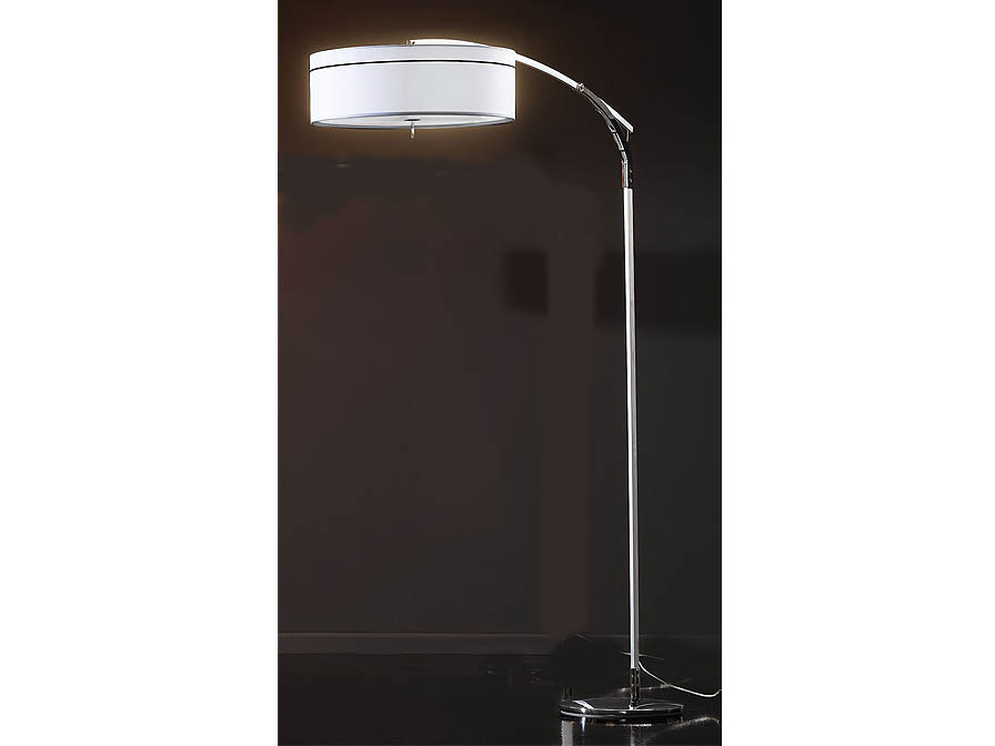 Ibis lámpara of Floor Lamp E27 LED 3x10W Aluminium/Chrome + lampshade fabric white