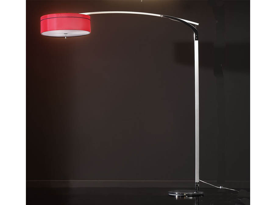 Ibis lámpara of Floor Lamp 3L Aluminium/Chrome + lampshade fabric Red