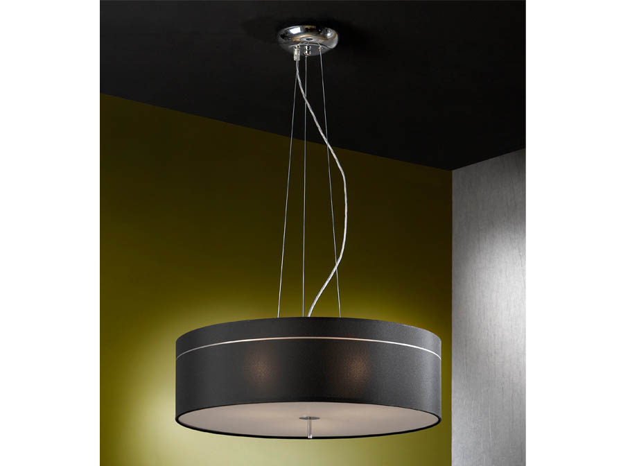Ibis Pendant Lamp 3L Chrome + lampshade fabric Black