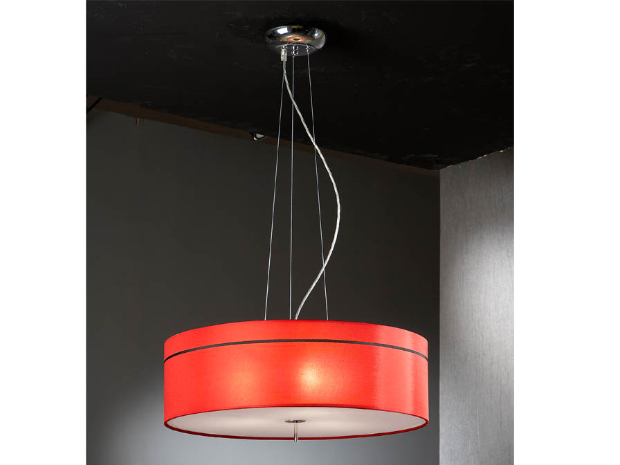 Ibis Pendant Lamp 3L Chrome + lampshade fabric Red