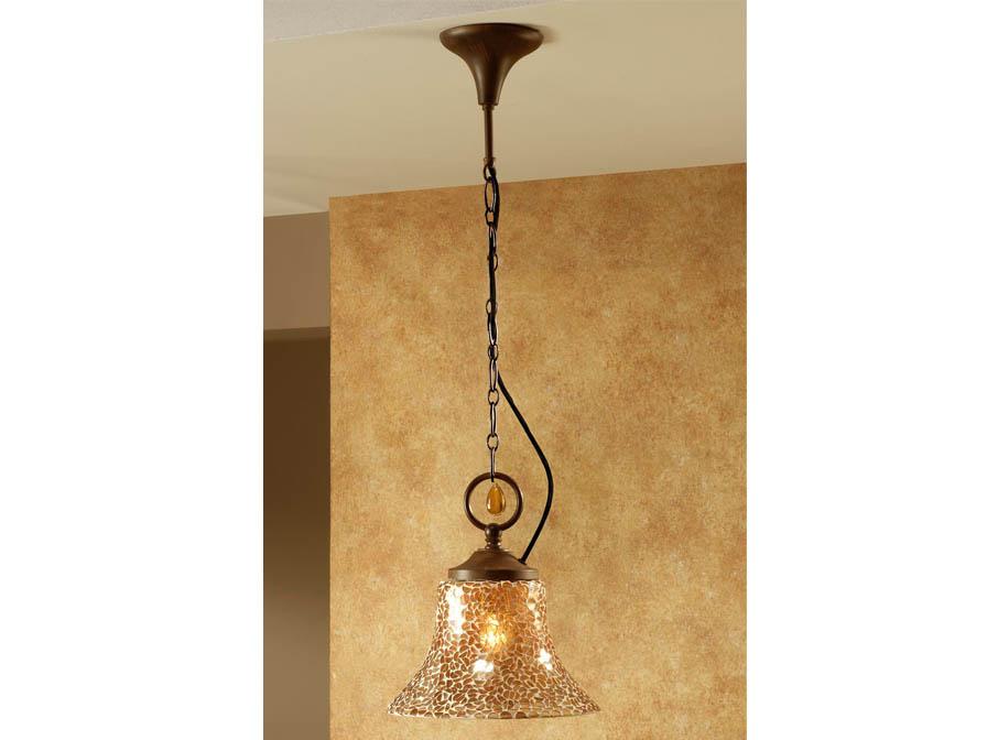 Eslava Pendant Lamp 1L oxide forge + lampshade Glass mosaic caldera