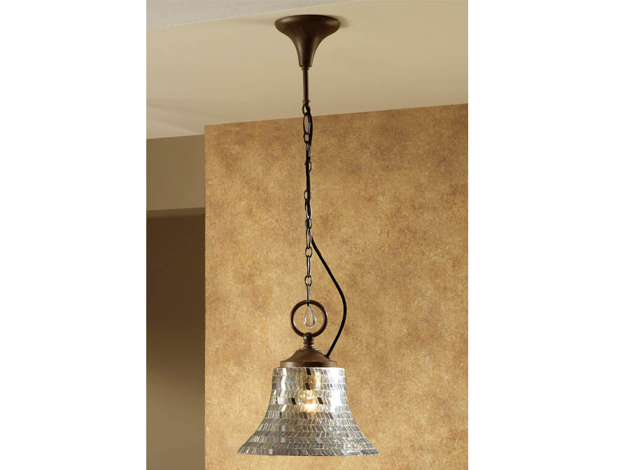 Eslava Pendant Lamp 1L oxide forge + lampshade Glass Silver