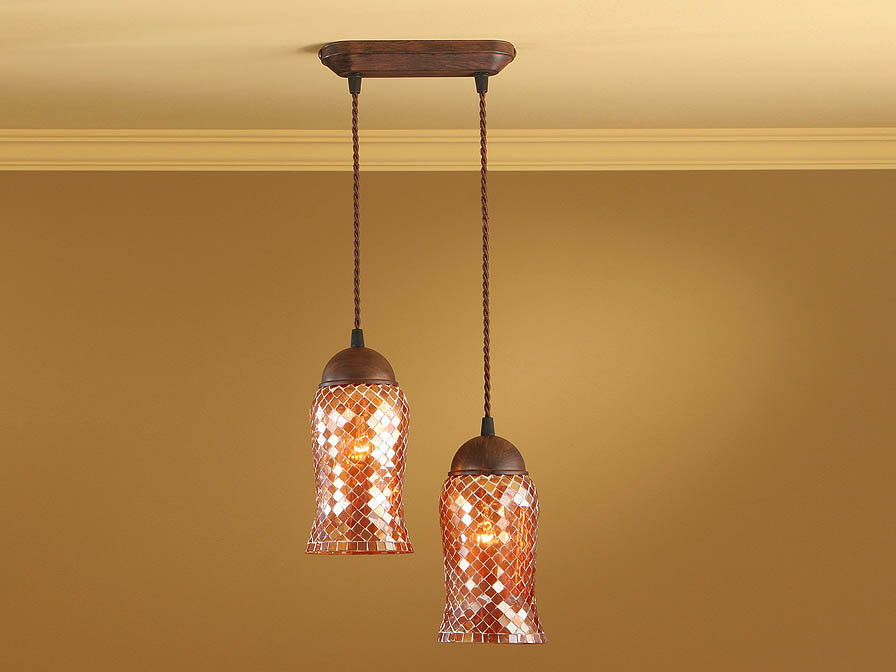 Lluvia Pendant Lamp 2L oxide forge + lampshade Copper thin