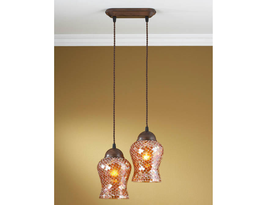 Lluvia Pendant Lamp 2L oxide forge + lampshade Copper