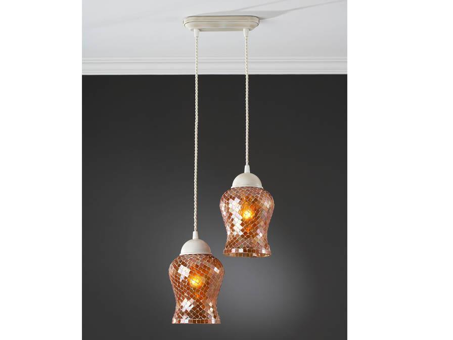 Lámpara Colgante 2L patinado Francs + tulipa Cobre Delgada