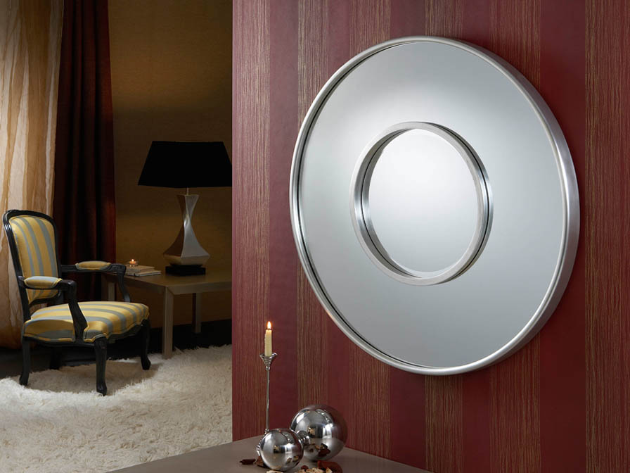 mirror Round Doble Silver Leaf
