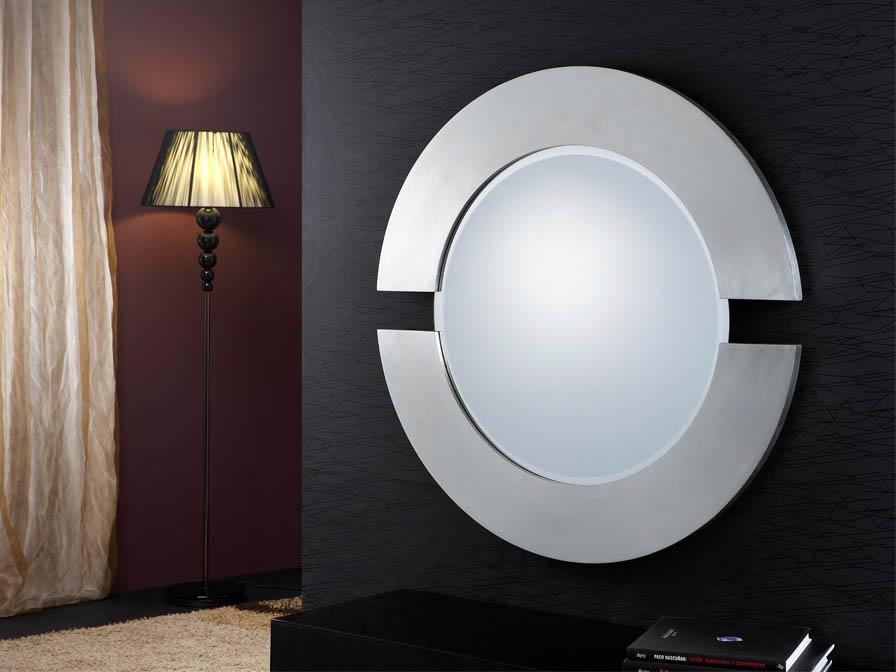 espejo Redondo Moldura 2 Piezas Pan de Plata