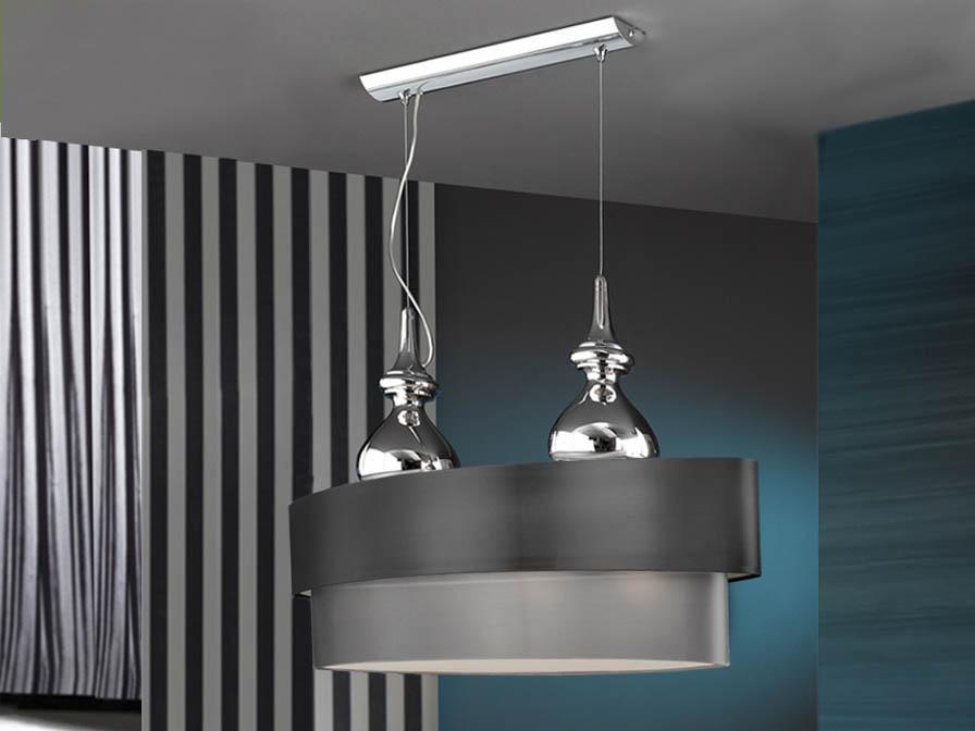 Sophia Pendant Lamp 4L Chrome + lampshade ovalada dimmable