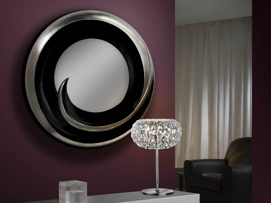 Vento mirror Silver Leaf/Black