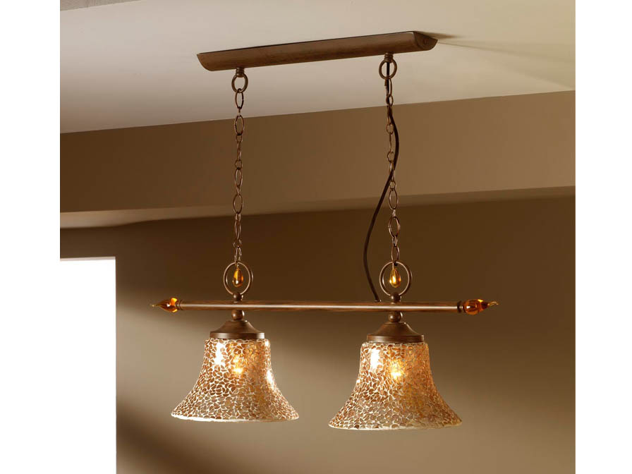 Eslava Pendant Lamp 2L oxide forge + lampshade mosaic Gold