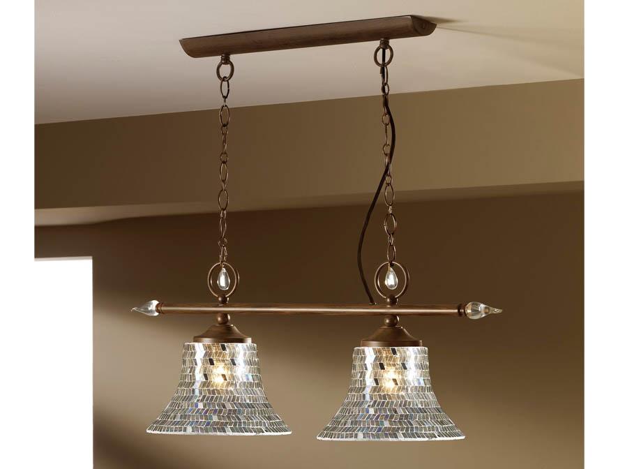 Eslava Pendant Lamp 2L oxide forge + lampshade mosaic Silver