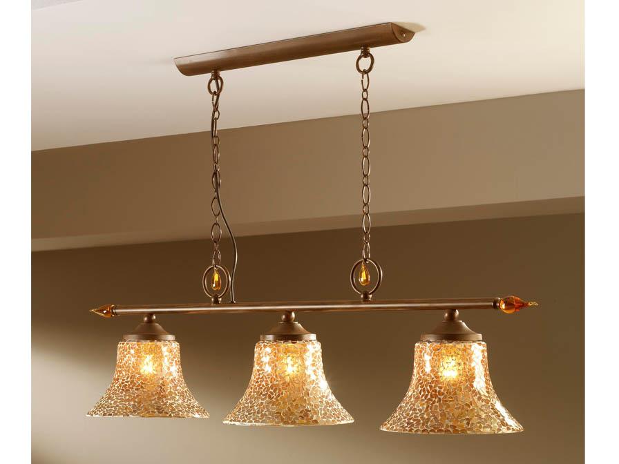 Eslava Pendant Lamp 3L Large oxide forge + lampshade mosaic Gold