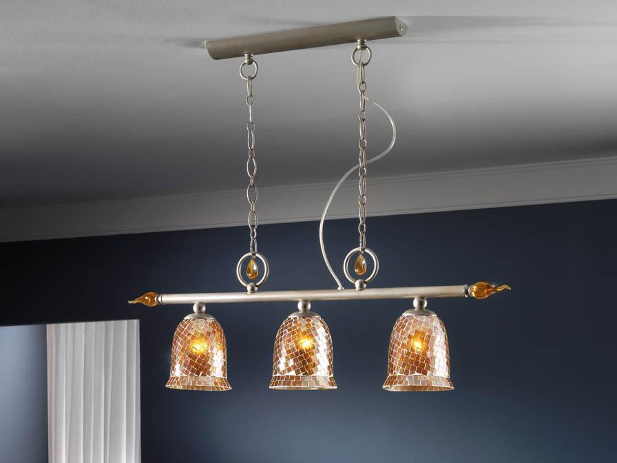 Eslava Pendant Lamp 3L silver nacre + lampshade mosaic ámbar
