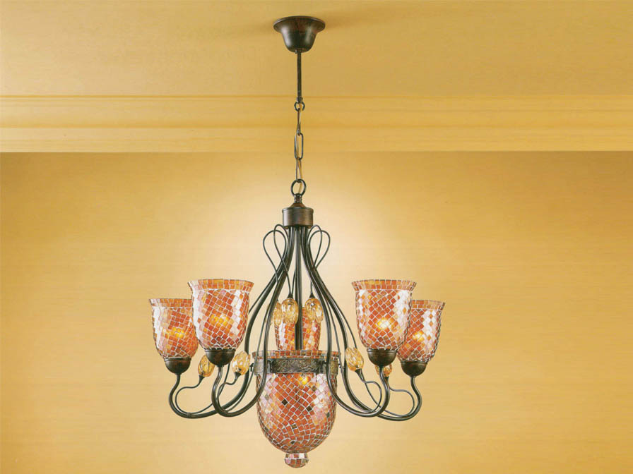 Gaudi Pendant Lamp 6L Óxido forge + lampshade mosaic orange