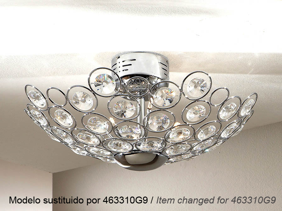 Luppo ceiling lamp 6L G4 Chrome Glass facetado