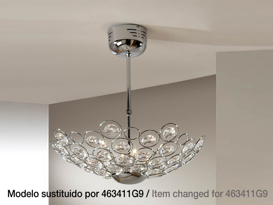 Luppo ceiling lamp 6L G4 Extensible Chrome Glass facetado
