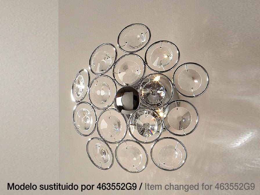 Luppo Wall or Ceiling Lamp 5L G4 Chrome Glass facetado