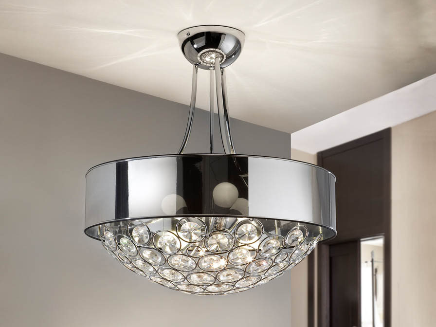 Luppo ceiling lamp 3L + 6L Chrome Glass facetado
