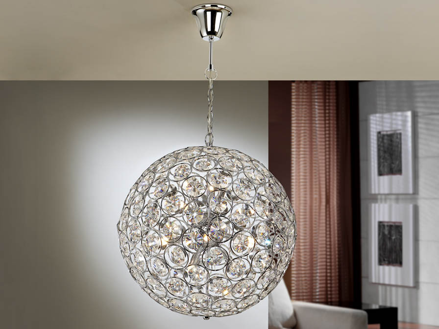 Luppo Pendant Lamp Bola 15L G9 Chrome Glass facetado