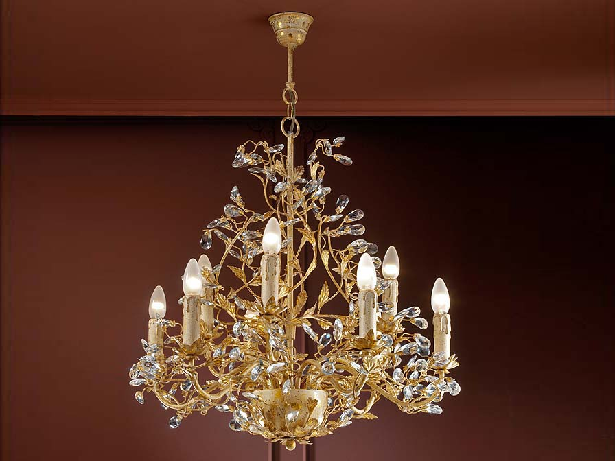 Verdi Pendant Lamp 9L E14 without lampshade Ivory Gold