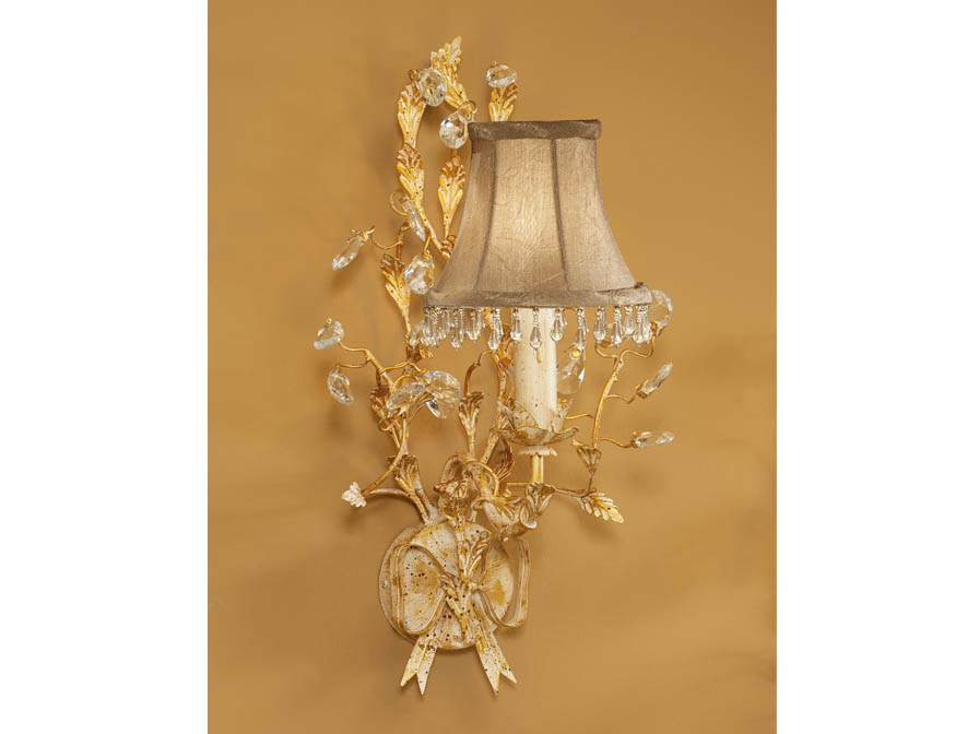 Verdi Wall Lamp Florentino 1L E14 with lampshade beige fringe Ivory Gold