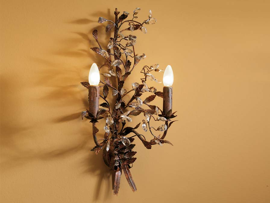 Verdi Wall Lamp Florentino 2L Brown Oxide