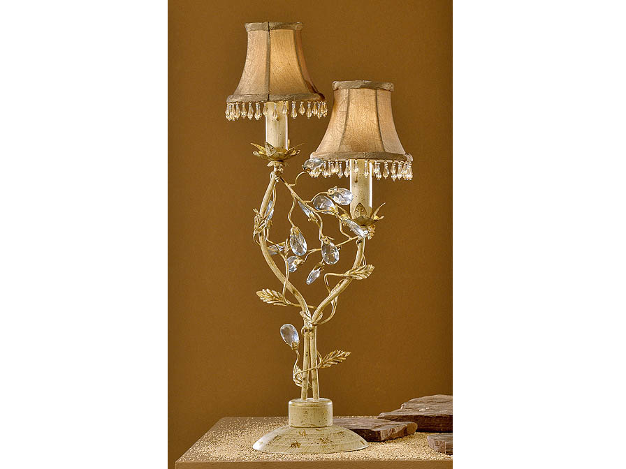 Verdi Table Lamp Florentino 2L E14 without lampshade Ivory and Gold