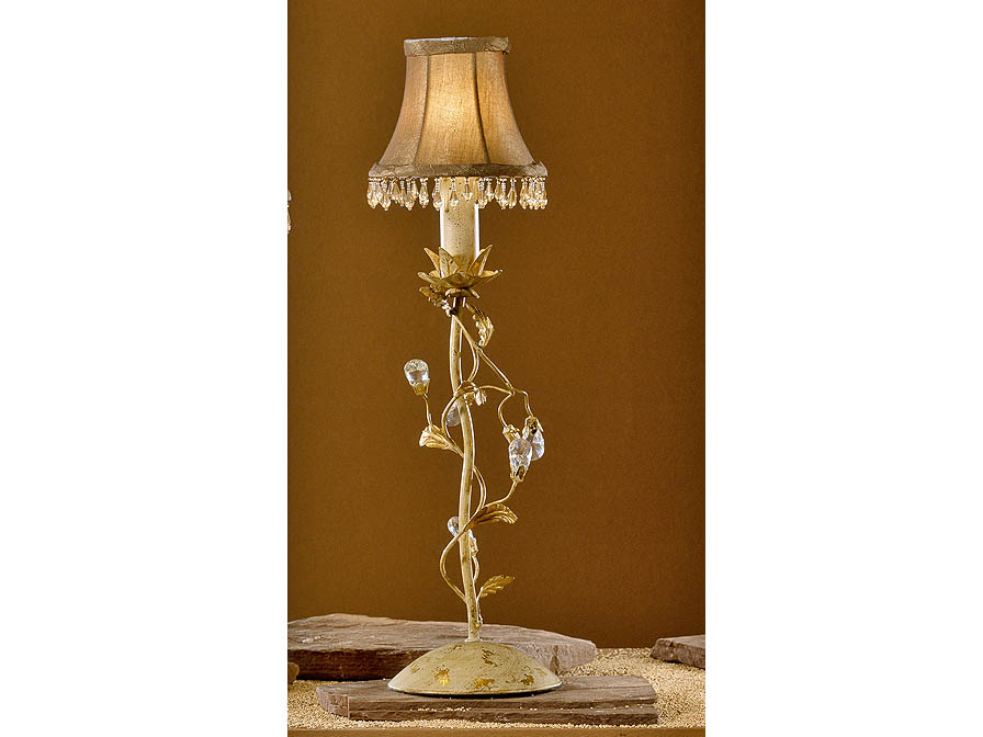 Verdi Table Lamp Florentino 1L Ivory and Gold + lampshade Beige fringe