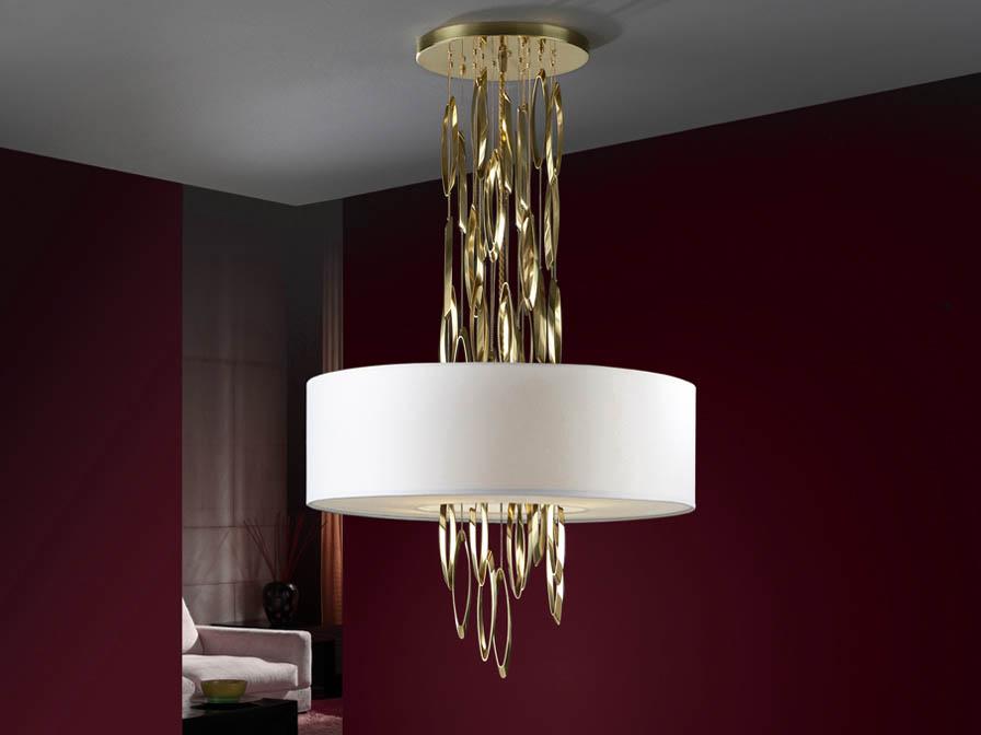 Domo Pendant Lamp 4L Latón Pulido + lampshade white 55 ø