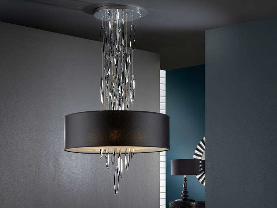 Domo Pendant Lamp 4L bright chrome + black lampshade 60 ø