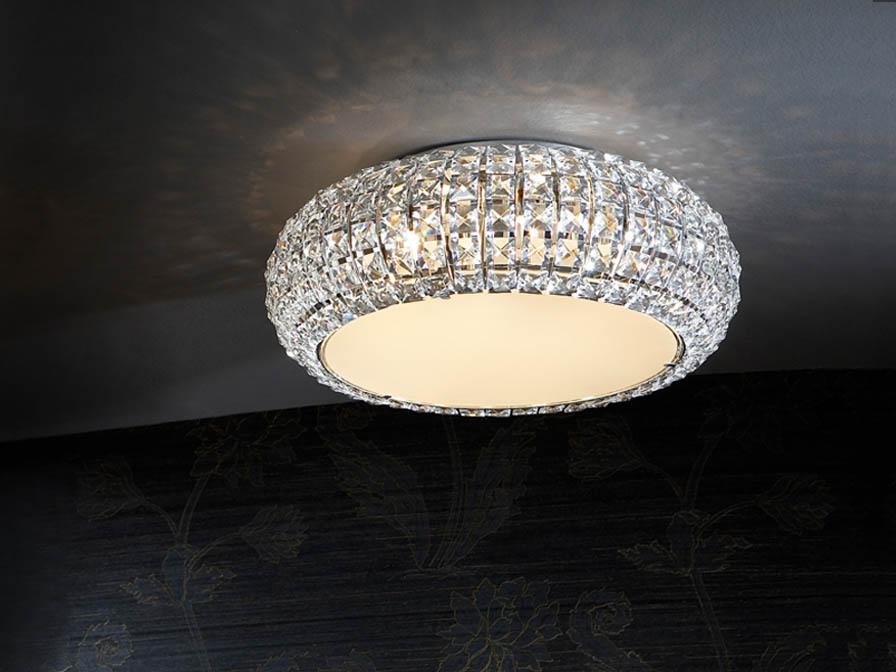 Diamond deckeleuchte pequeño 6 G9 LED 4W Chrom/Copens Glas