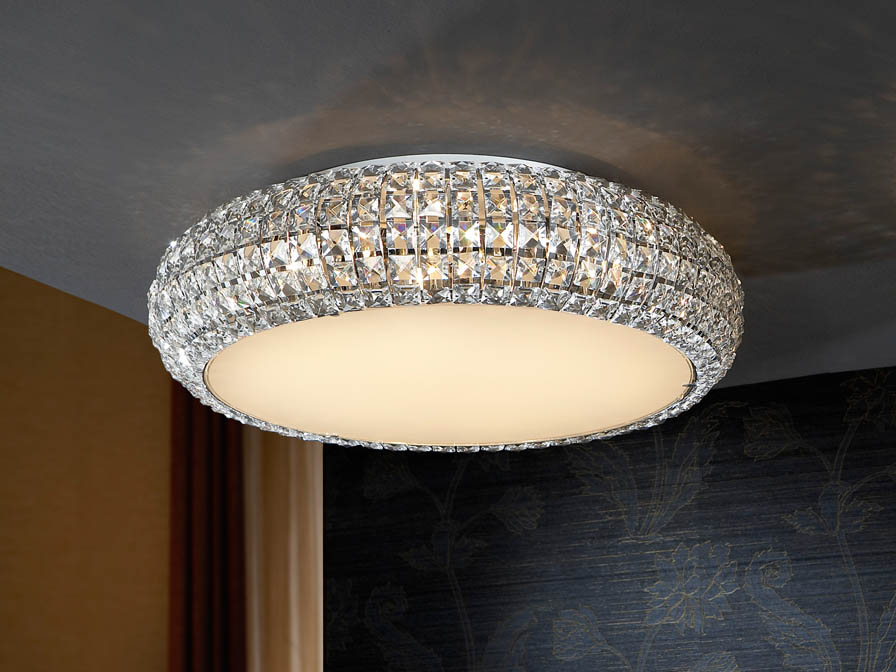 Diamond grand plafond 9 G9 LED 4W Chrome/Copens Verre