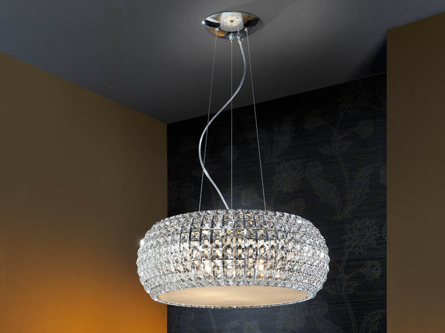 Diamond large Pendant Lamp 9 G9 LED 4W Chrome/Copens Glass