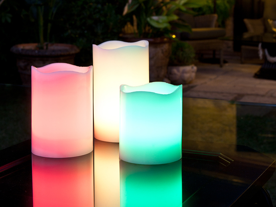 Vela LED Rainbow RGB Set 3 con Mando a Distancia Velas LED