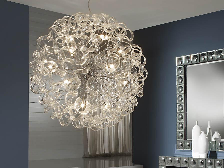 Nova Lámpara Colgante 15xG9 LED 4W Cristal Transparente