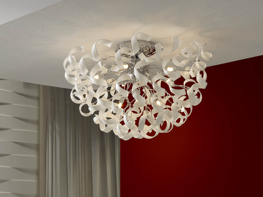 Nova ceiling lamp 8L white/Glass