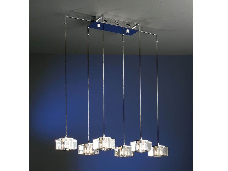 Cubic Pendant Lamp 6L bright chrome