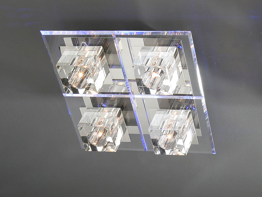 Cubic ceiling lamp 4L bright chrome/methacrylate Biselado
