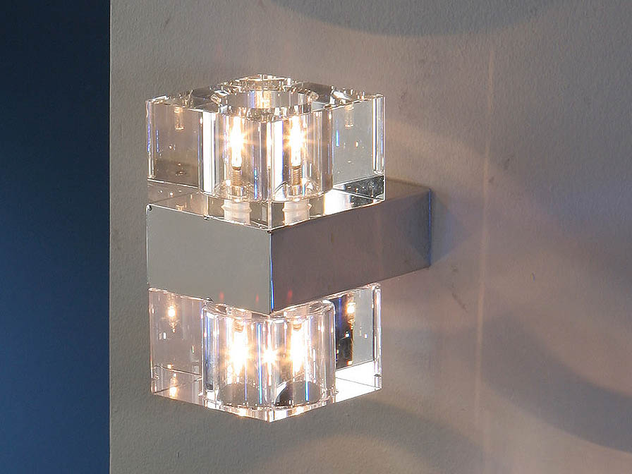 Cubic Wall Lamp 2L bright chrome/Glass