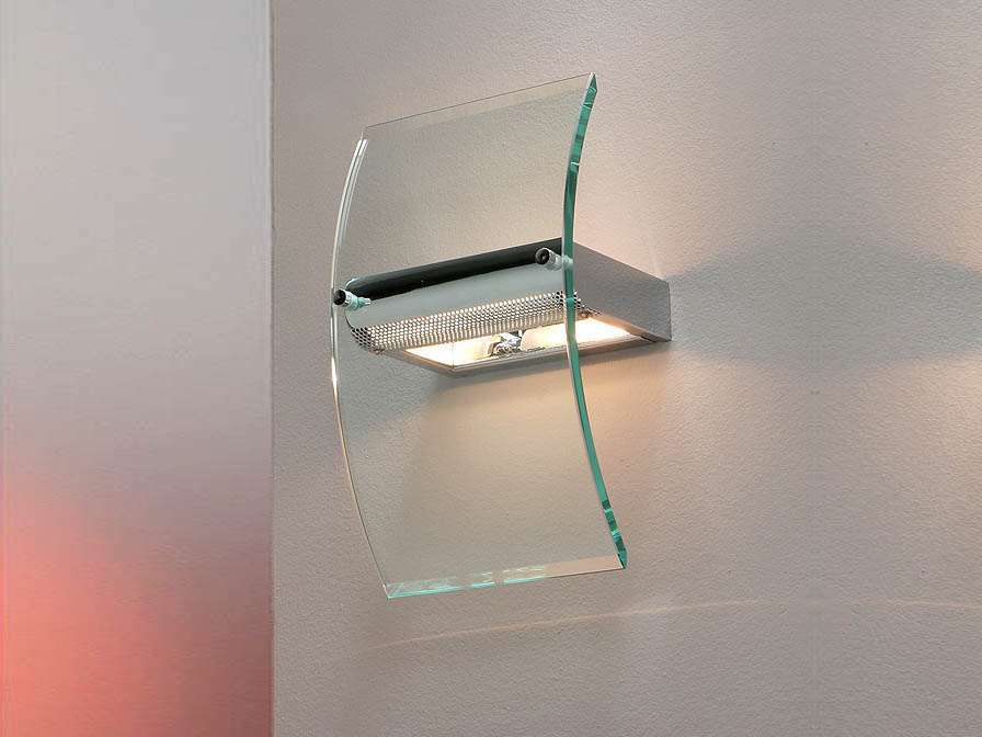 Glass Wall Lamp 80W bright chrome