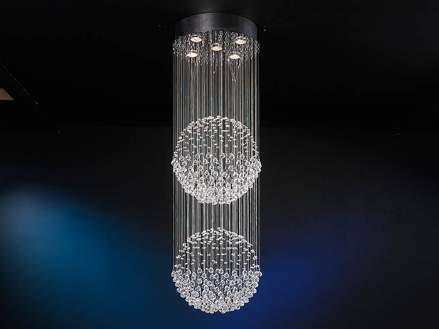 Estratos Pendant Lamp 2 Balls 5L bright chrome/Glass Asfour