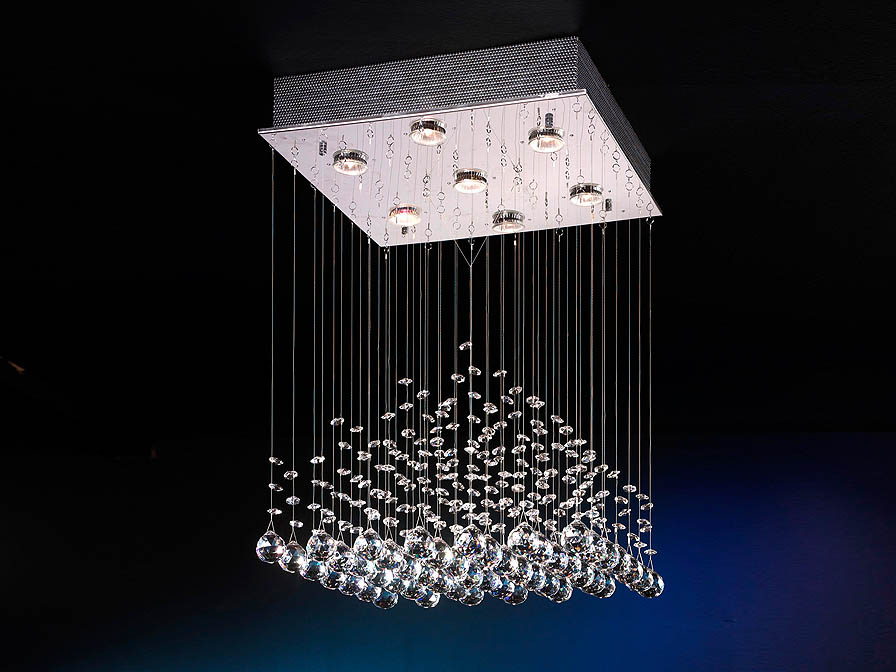 Estratos Pendant Lamp 7xGU10 LED 7W bright chrome/Glass Asfour