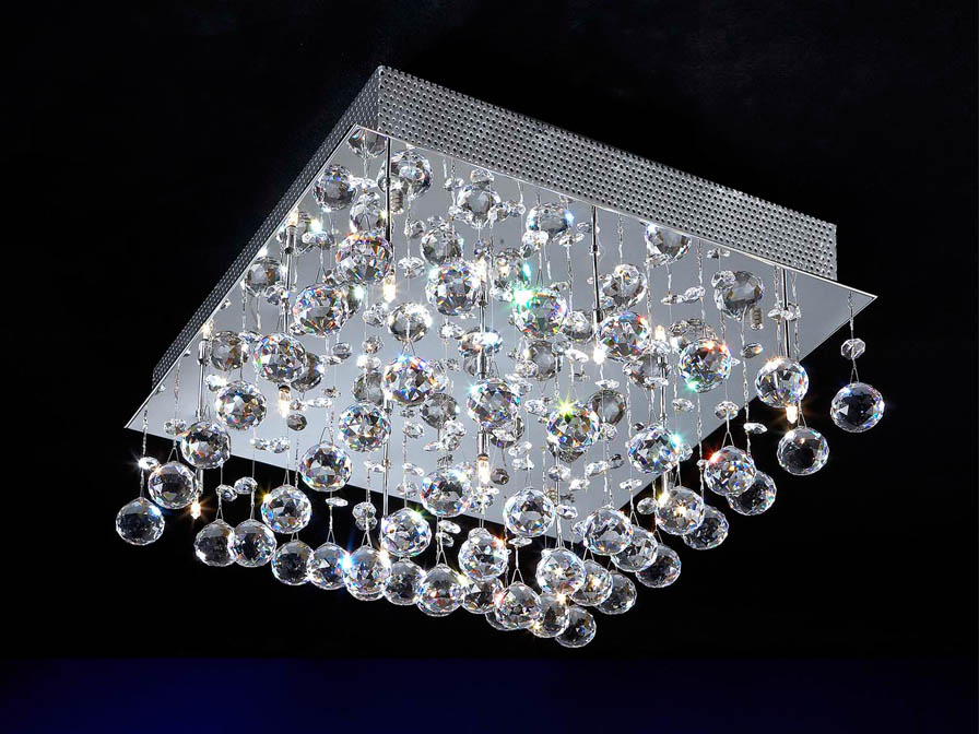 Estratos ceiling lamp Square 9L bright chrome/Glass Asfour