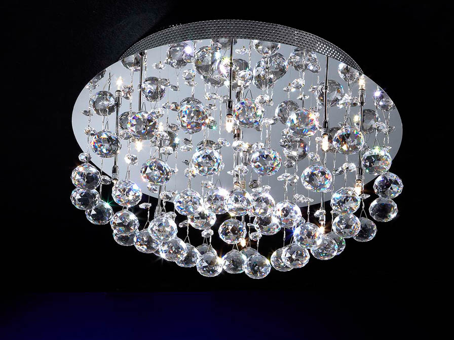 Estratos ceiling lamp Round 9L bright chrome/Glass Asfour