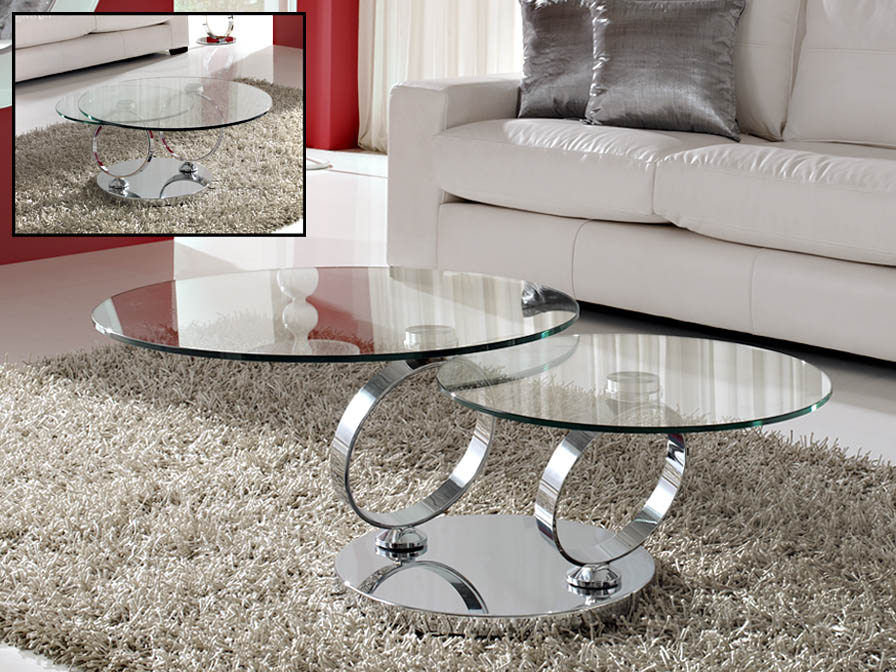 Aros articulated coffee table Chrome/Glass