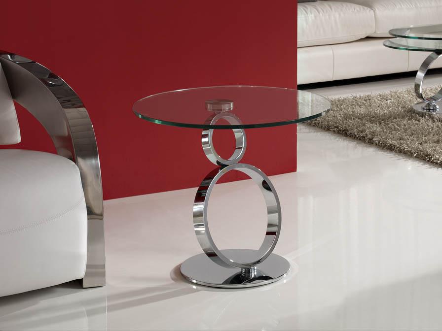 Aros mesa de rincón Cromo/Cristal